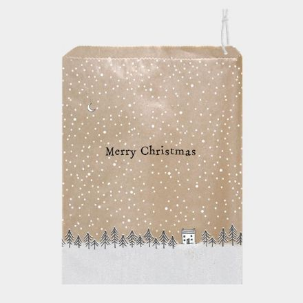 "East of India Brown Paper Gift Bags ""Merry Christmas"" Trees x 25"